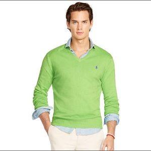 Ralph Lauren Polo Golf V-Neck Sweater Green Large